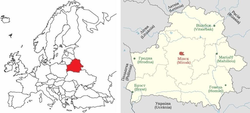 A esquerda: Localização de Belarús na Europa. A direita: Mapa de Belarús com as cidades principais - capitais das regiões administrativas.
