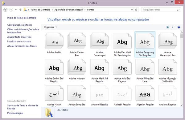 Pasta de fontes do Windows