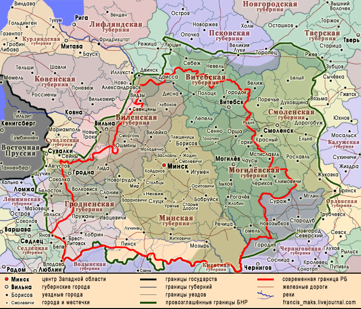 Mapa que mostra os limites da República Popular Belarussa em 1918 (verde)  e da atual República Belarús (vermelho). Fonte: Francis_maks.livejournal.com